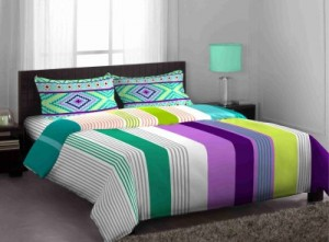 Buy Stellar Home Cotton Abstract Queen sized Double Bedsheet Online