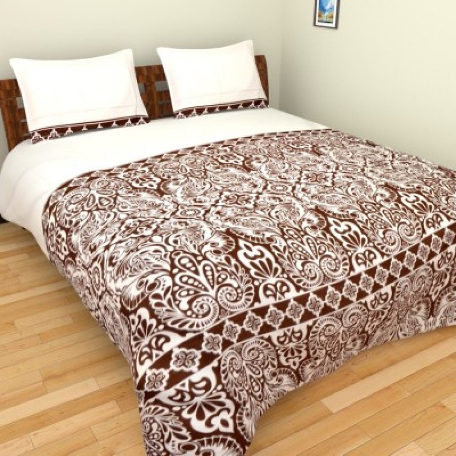 Buy Bichauna by Portico Cotton Linen Blend Printed King sized Double Bedsheet Online