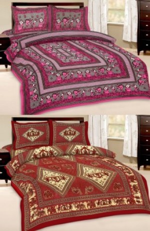 Buy  Cotton Abstract Queen sized Double Bedsheet Online