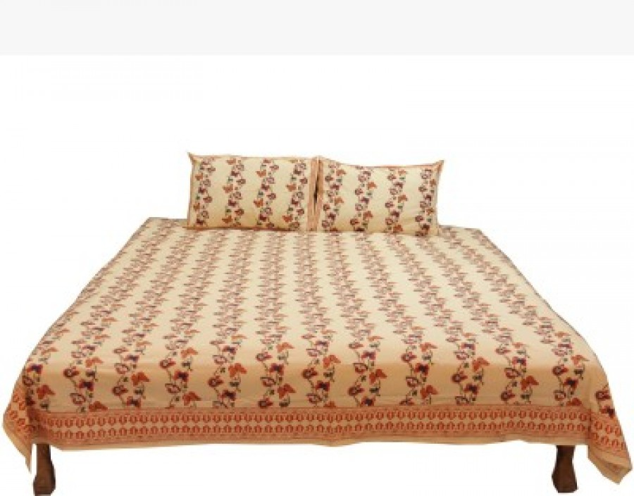 Buy Chhipa Prints Cotton Floral Queen sized Double Bedsheet Online