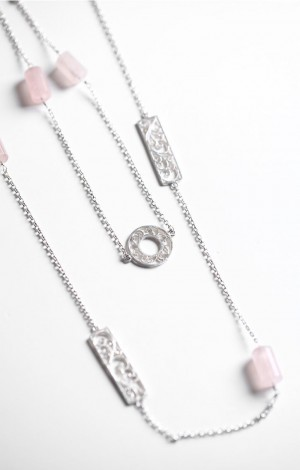 Buy Filigree Sava Collection Floral Neck Chain with Pink Agate Online