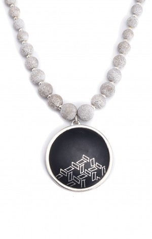 Buy Bidri Pendant on Frosted Silver Necklace Online
