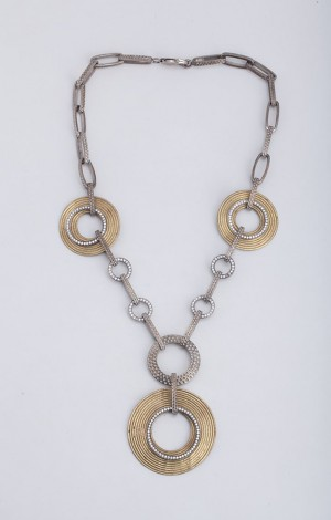 Buy Limited Edition Dhokra Link Necklace with CZ rings Online