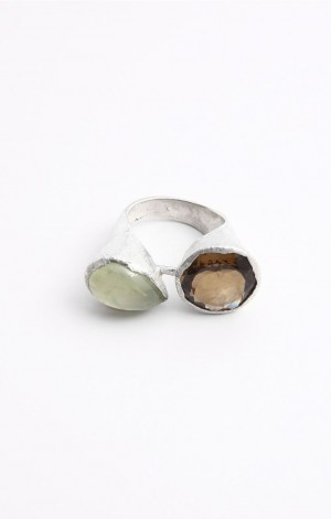 Buy Venus Collection Green Prehnite And Yellow Topaz Silver Ring Online