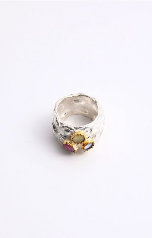 Buy Venus Collection Silver Ruby Quartz and Tanzanite Ring Online