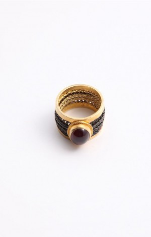 Buy Venus Collection Woven Band Ring With Ruby Light Tourmaline Online
