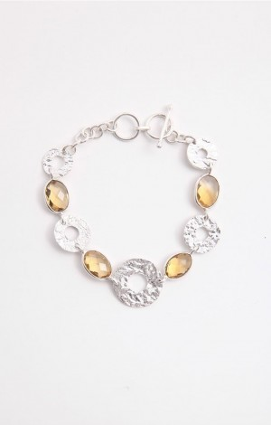 Buy Aine Collection Silver Link Bracelet with Citrine Stone Online