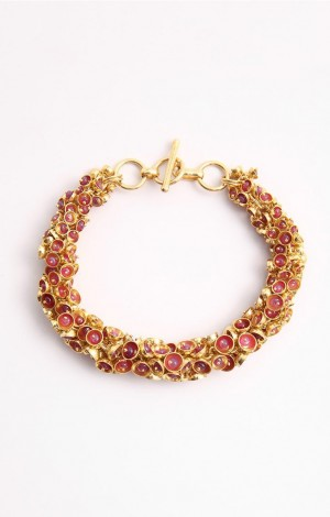 Buy Venus Collection Ruby Stone Gold Plated Chain Bracelet Online