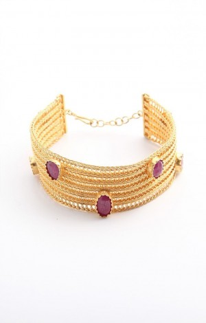 Buy Venus Collection Gold Plated Woven Silver Bracelet Online