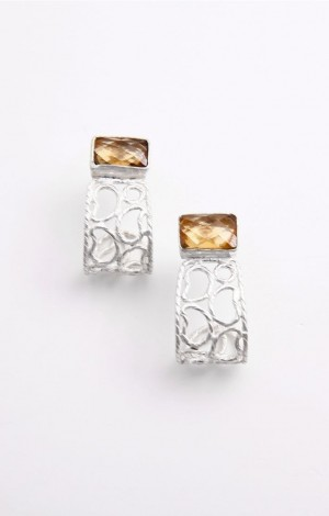 Buy Aine Collection Silver Ear Studs With Citrine Stone Online