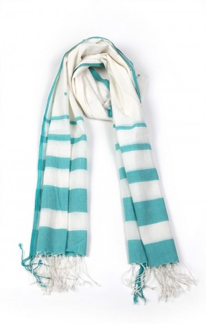 Buy Jamdani Muslin Stole With Stripes and Motif Online