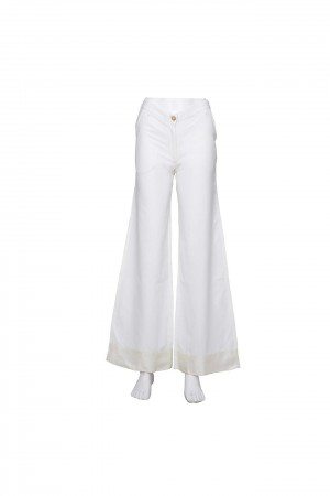 Buy Handwoven Cotton Parallel Trousers with Broad Silk Band Online