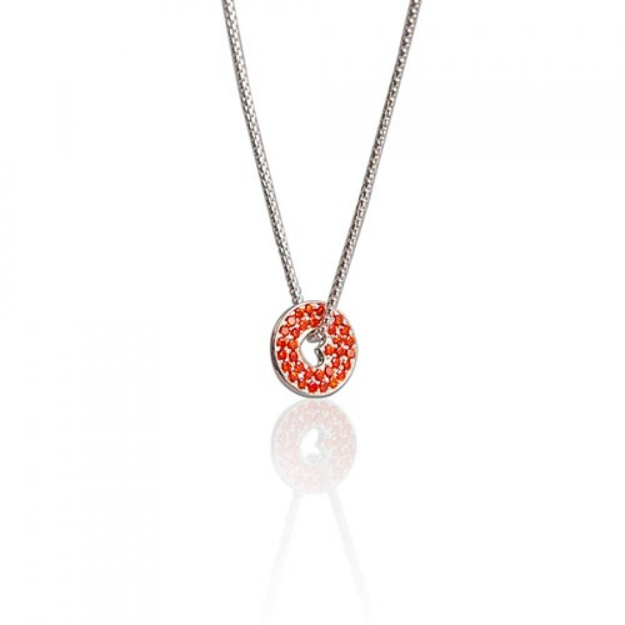 Buy FLOATING HEART NECKLACE IN SUNSET ORANGE Online