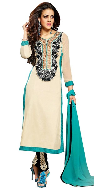 Buy Lovely Off-White Georgette Straight Suit With Dupatta. Online