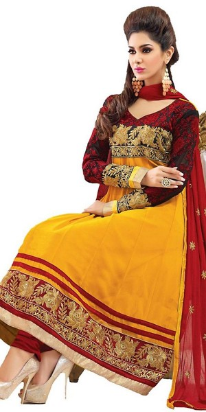 Buy Captivating Yellow Georgettte Long Anarkali Suit With Dupatta. Online