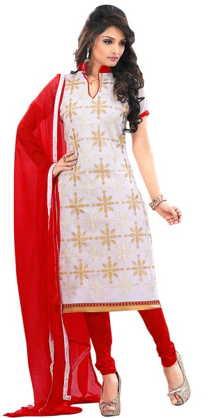 Buy Earthy White Silk Straight Suit With Dupatta. Online