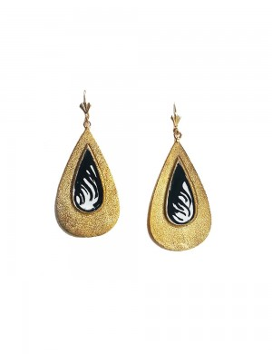 Buy PEAR SHAPED EARRINGS BLACK AND WHITE Online