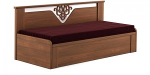 Buy Kosmo Ornate Slider Sofa cum Bed with Storage in Rigato Walnut Finish by Spacewood Online