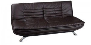 Buy Edo Leatherette Sofa Cum Bed in Brown Colour by Furny Online