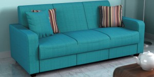 Buy Elena Three Seater Sofa with Throw Cushions in Capri Blue Colour by Casacraft Online