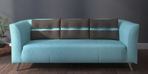 Buy Adelia Three Seater Sofa in Celeste Blue Colour with Throw Cushions by CasaCraft Online