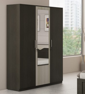Buy Kosmo Crescent Three Door Wardrobe with Mirror in Shadow Oak and Moldau Akazia Finish by Spacewood Online