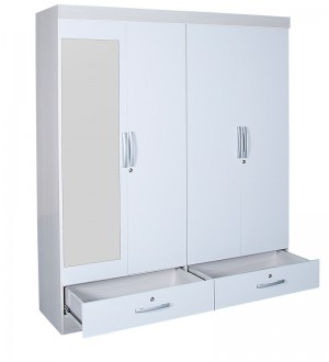 Buy Apollo High Gloss Four Door Wardrobe with Mirror in White Colour by HomeTown Online