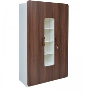 Buy Simon Two Door Wardrobe in White Lily & Walnut Colour by Crystal Furnitech Online