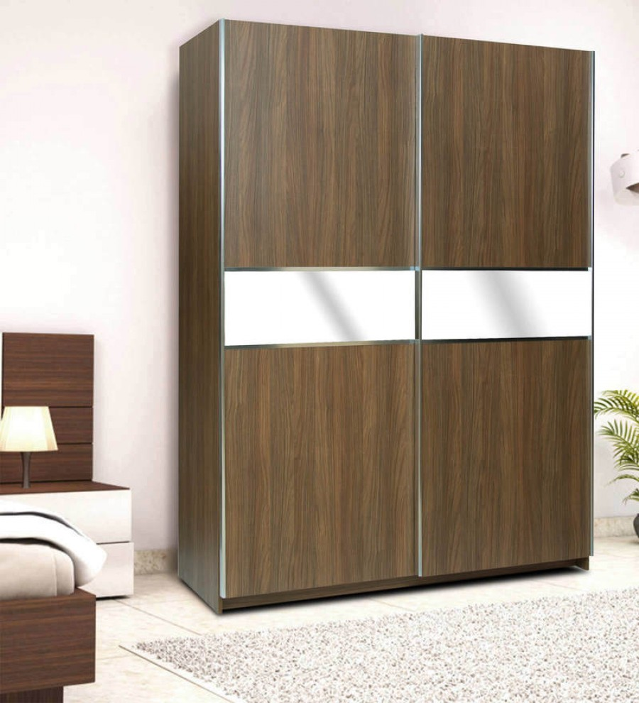 Online Shopping Two Door Sliding Wardrobe With Mirror Panel
