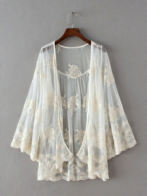 Buy White Mesh Lace Coat Online