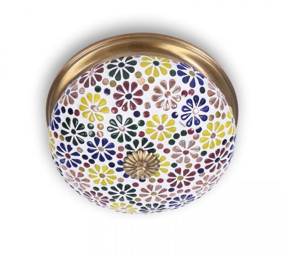 Buy MULTICOLORED MOSAIC BRASS CEILING LAMP Online