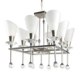 Buy GLAMOROUS CRYSTAL ACCENTED SQUARE 8 LIGHT CHANDELIER Online