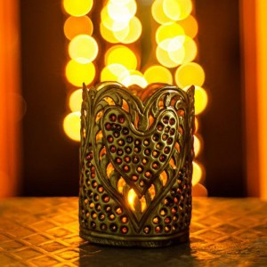 Buy STUDDED HAND CARVED BRASS TEALIGHT CANDLE HOLDER Online