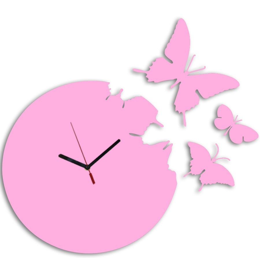 Buy Pink Butterfly Round Clock Online