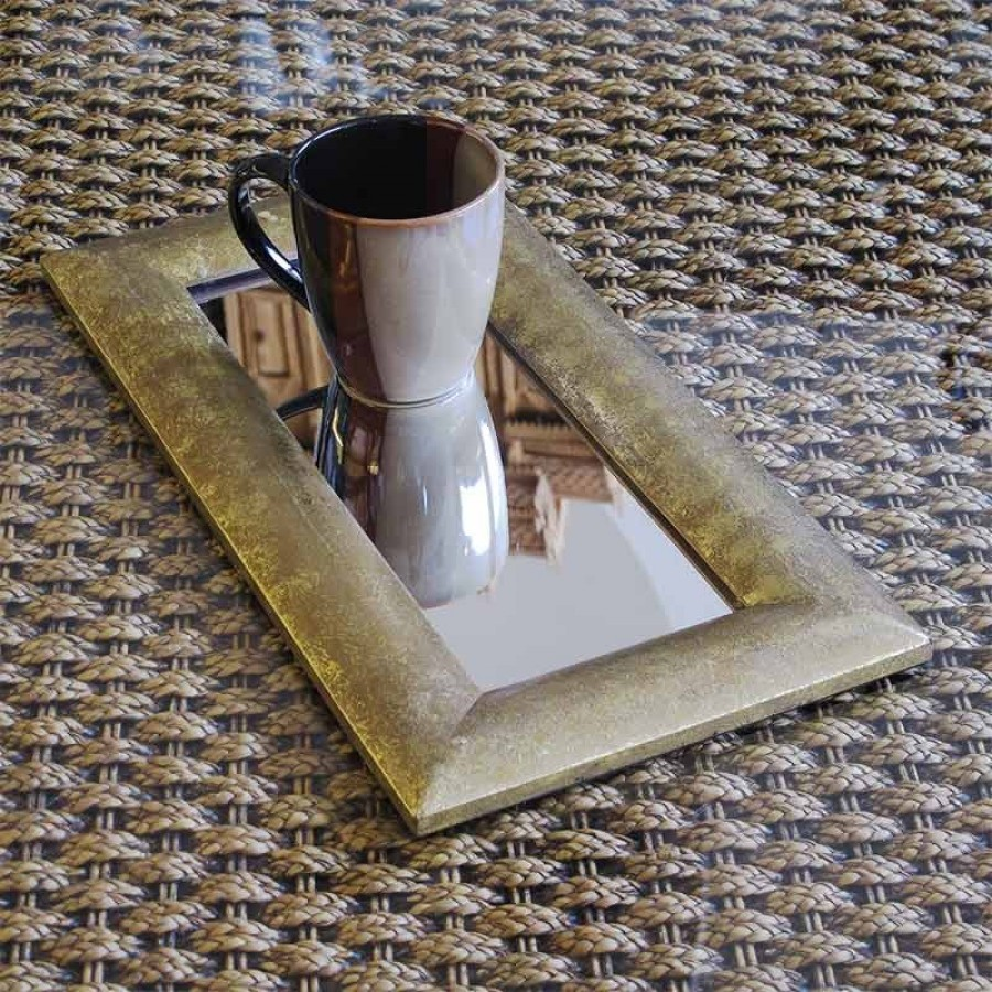 Buy MIRROR TRAY WITH GOLD LEAF FOIL Online