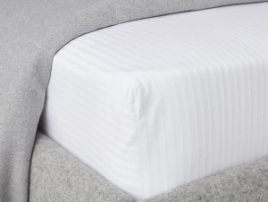 Buy Love For White Fitted Sheet  300TC Satin Stripes  King Online