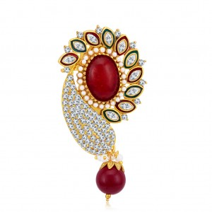 Buy Sukkhi Glamorous Gold Plated AD Brooch For Women Online