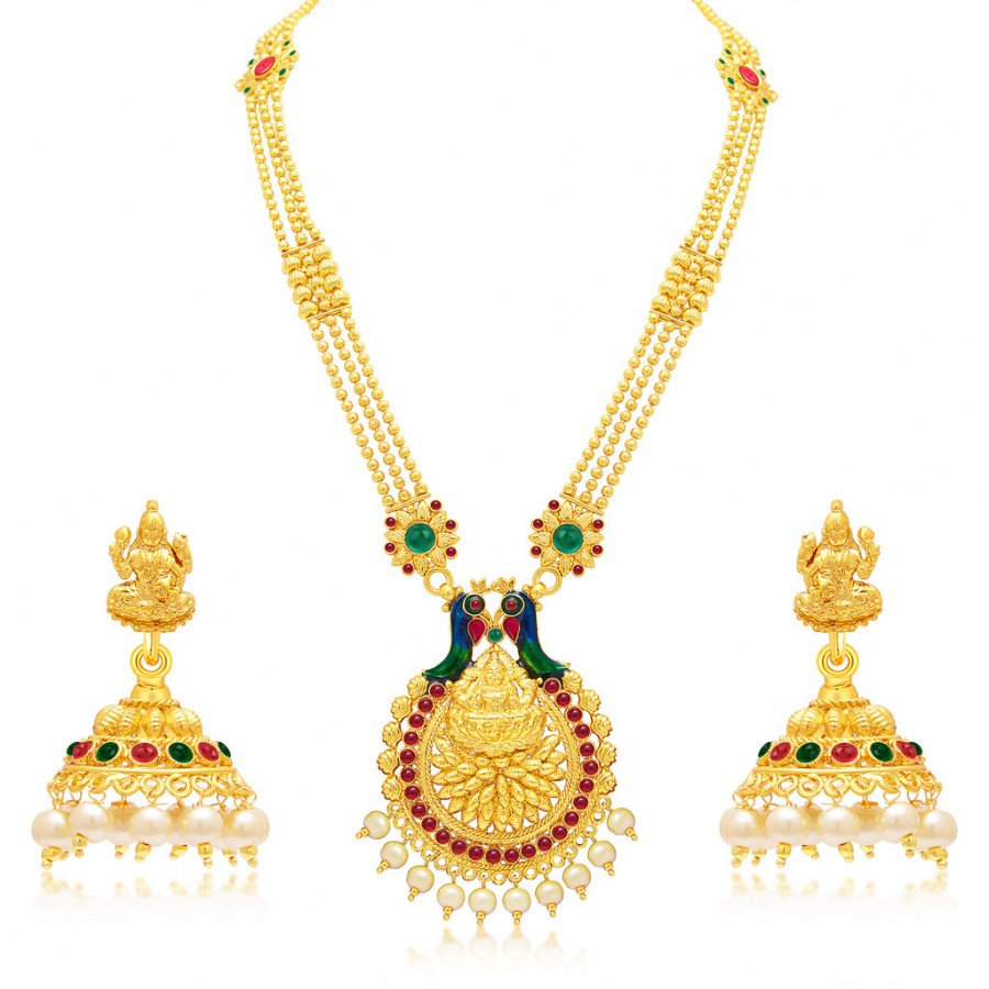 ab63cf7450 Buy Sukkhi Designer Laxmi Temple Peacock Gold Plated Necklace Set For Women  Online
