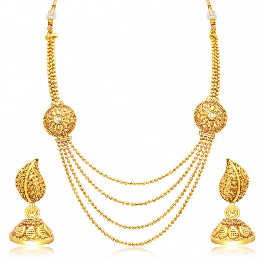 Sukkhi Traditional Gold Plated Necklace Set: Sukkhi Beguiling Four String Gold Plated