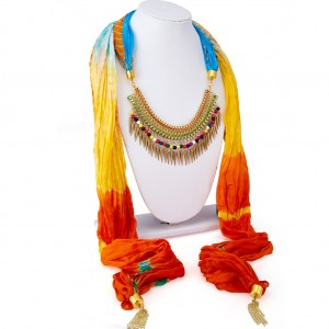 Buy Sukkhi Stunning Silk Detachable Scarf Necklace With Chain For Women Online