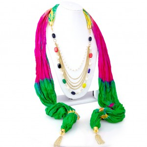 Buy Sukkhi Sparkling Silk Detachable Scarf Necklace With Chain For Women Online