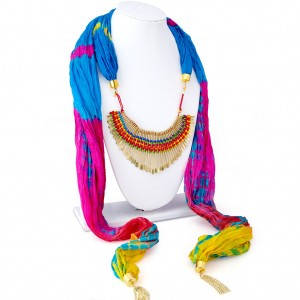Buy Sukkhi Blossomy Silk Detachable Scarf Necklace With Chain For Women Online