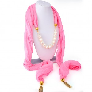Buy Sukkhi Wavy Chiffon Detachable Scarf Necklace With Chain For Women Online