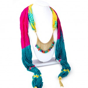 Buy Sukkhi Royal Silk Detachable Scarf Necklace With Chain For Women Online