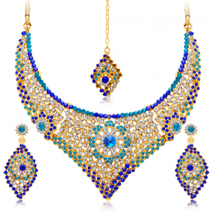 Sukkhi Traditional Gold Plated Necklace Set: Sukkhi Stylish Gold Plated AD Necklace Set