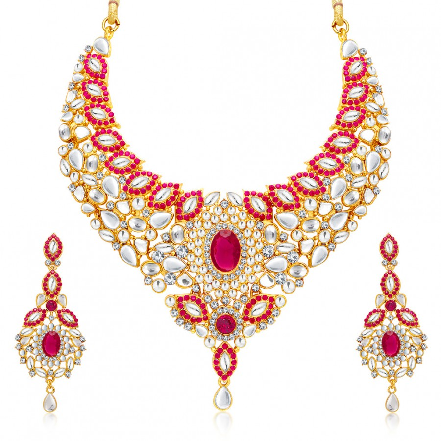 Sukkhi Traditional Gold Plated Necklace Set: Sukkhi Astonish Gold Plated AD Necklace Set