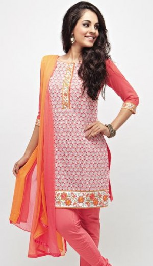 Buy Pink Georgette with Off-White Embroidery and Multi-Colour Border Unstitched Kurta Set Online