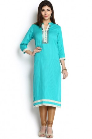 Buy Soch Blue & Cream Self-Designed Cotton Jacquard Straight Kurti Online