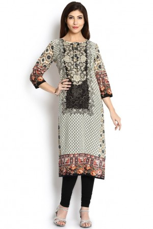 Buy Soch Cream & Black Printed Cotton Straight Kurti  Online