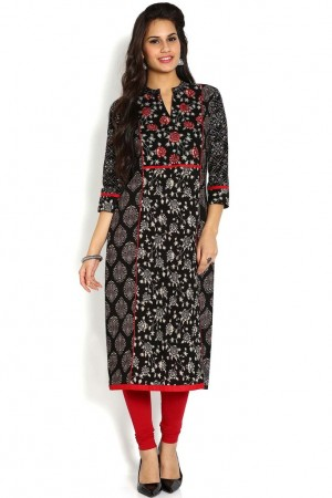Buy Soch Black & Red Cotton Straight Kurti Online